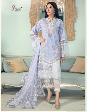 light blue pure lawn ( pakistani cotton) fabric embroid ery work ethic