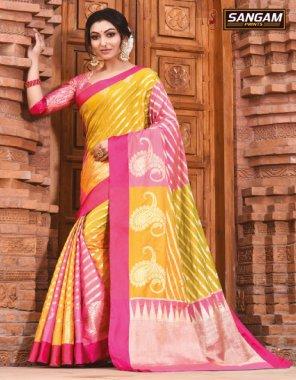 yellow & pink silk fabric printed work casual