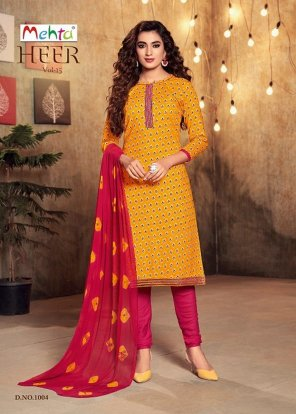 methi yellow cambric cotton fabric printed work occasionaly