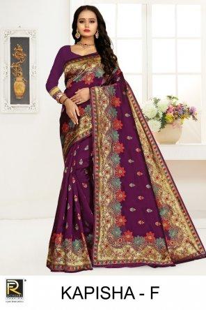 purple primium silk fabric printed  work casual