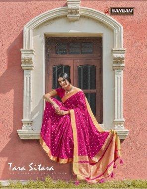 pink handloom silk fabric printed work wedding
