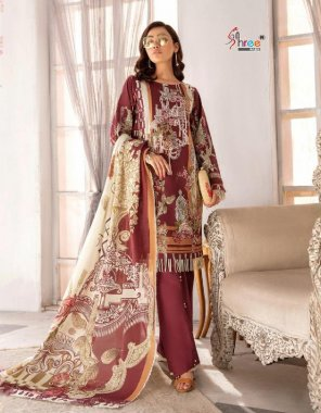 red cotton ( pakistani copy) fabric printed work casual