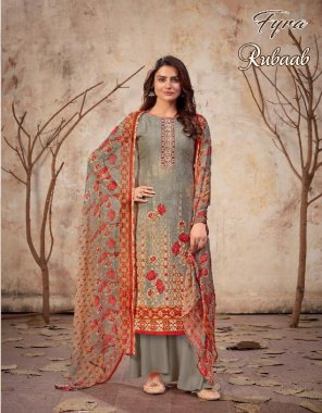 grey pure cotton fabric printed work casual