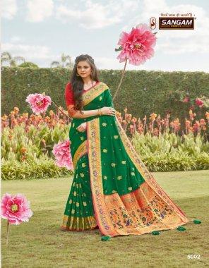 green silk fabric resham thread work work casual