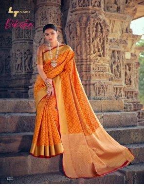 orange patola silk fabric printed work casual