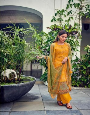 yellow cotton  fabric printed work casual