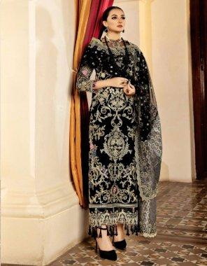black georgette fabric emboidery work partywear