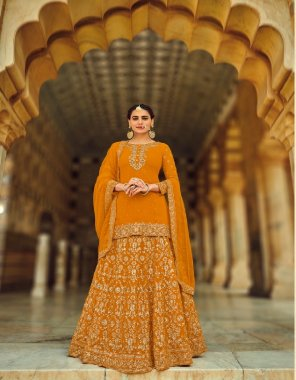 orange georgette fabric embroidery work ethic