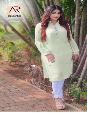 light green  georgette fabric embroidery work festive