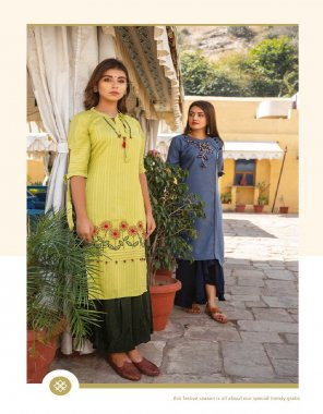 yellow  livex rayon fabric embroidery work casual