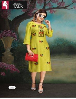 dark yellow rayon fabric embroidery work casual