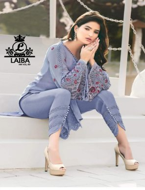 purple georgette fabric embroidery work casual