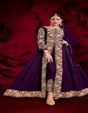 dark purple faux georgette fabric embroidery work casual