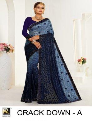blue teri brasso fabric embroidery work casual