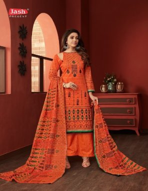 orange cotton fabric printed work ethic