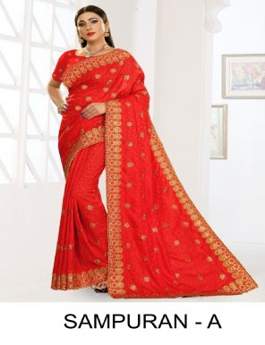 red dola jecquard fabric embroidery work wedding