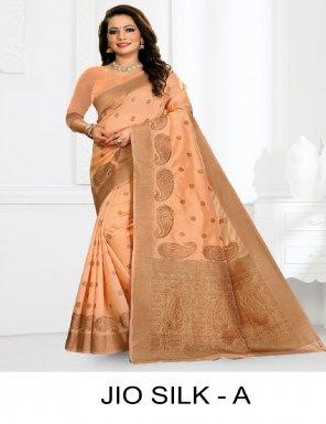 light orange premium silk fabric printed work casual