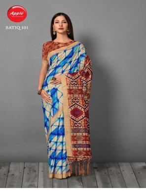 sky blue bhagal puri silk fabric printed work casual