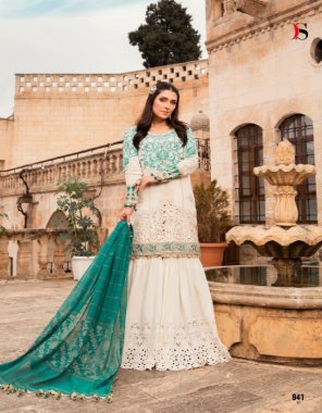 offwhite cotton ( pakistani copy) fabric embroidery work casual
