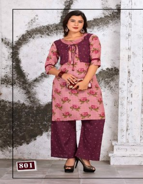 pink heavy rayon fabric printed work casual