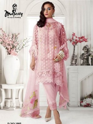 pink net fabric embroidery with sequence work festival