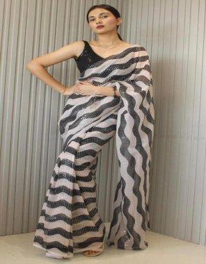 black geogette fabric printed work party wear