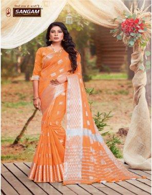 orange lien cotton fabric printed work casual