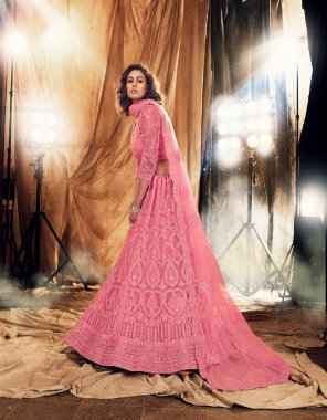 pink net with silk satin fabric embroidery work festive