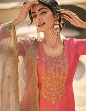 pink tussar silk fabric embroidery work casual