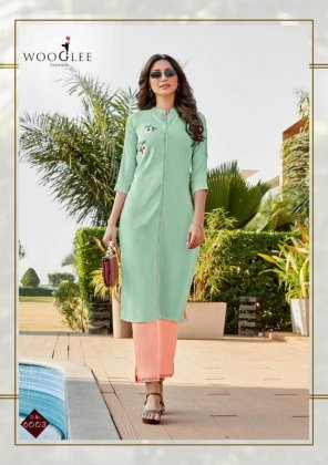 mint rayon fabric embroidery touchup work casual