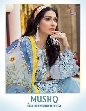 blue pure lawn ( pakistani copy) fabric embroidery work casual