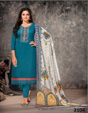 rama blue jam cotton fabric embroidery work casual