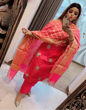 pink chanderi fabric embroidery+ hand stone work casual