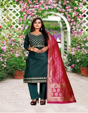 rama blue cotton fabric embroidery work casual