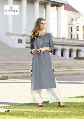 grey rayon fabric embroidery touchup work casual
