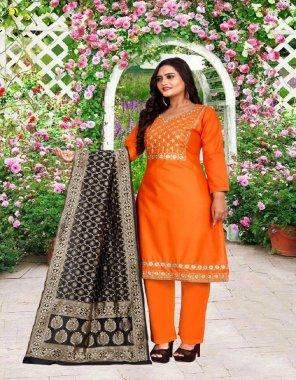 orange cotton fabric embroidery work fesive