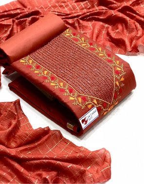 red cotton fabric embroidery work fesive