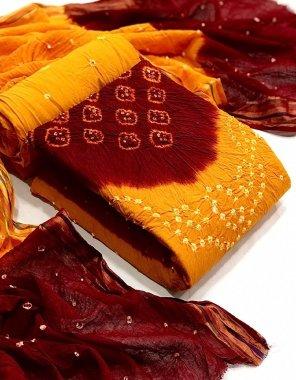 yellow & mauron cotton fabric bandhani printed work casual