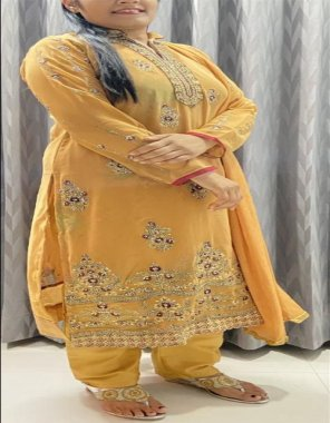 yellow georgette fabric embroidery work casual