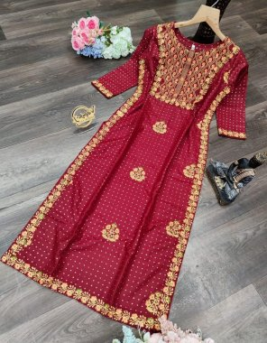 red cool rayon fabric gold print + classic embroidery work work casual