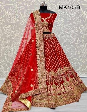 red velvet fabric zari embroidery , dori embroidery , diamond work work festive