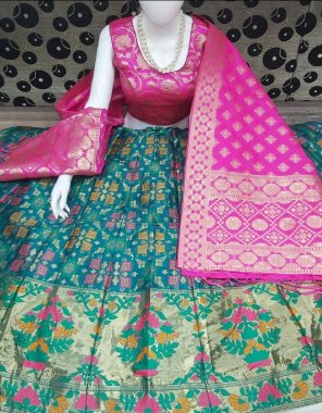 rama blue & pink banarasi silk fabric printed work casual