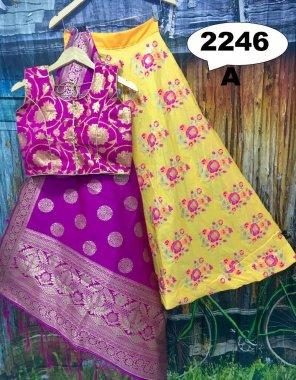 pink & yellow brocade fabric printed work casual
