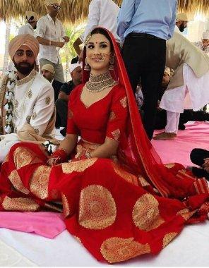 red jacquard banarasi silk fabric printed work festive