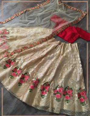 red & offwhite net fabric embroidery work casual