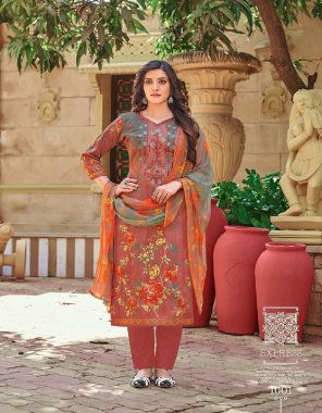 brown pure glace cotton fabric printed work casual