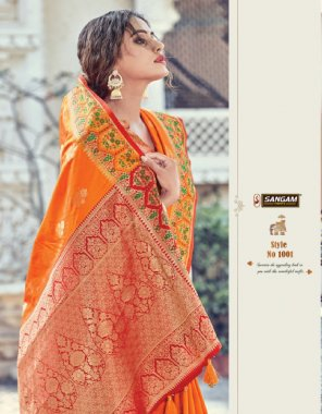 orange pure silk fabric printed work casual