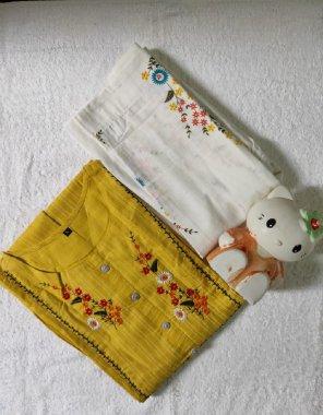 yellow primium rayon slib fabric embroidery work casual