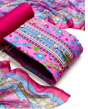 dark pink heavy cotton fabric floral print work festive