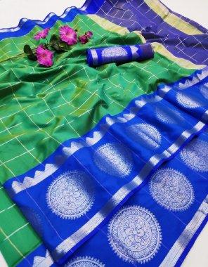 green & blue silk fabric ball print work casual